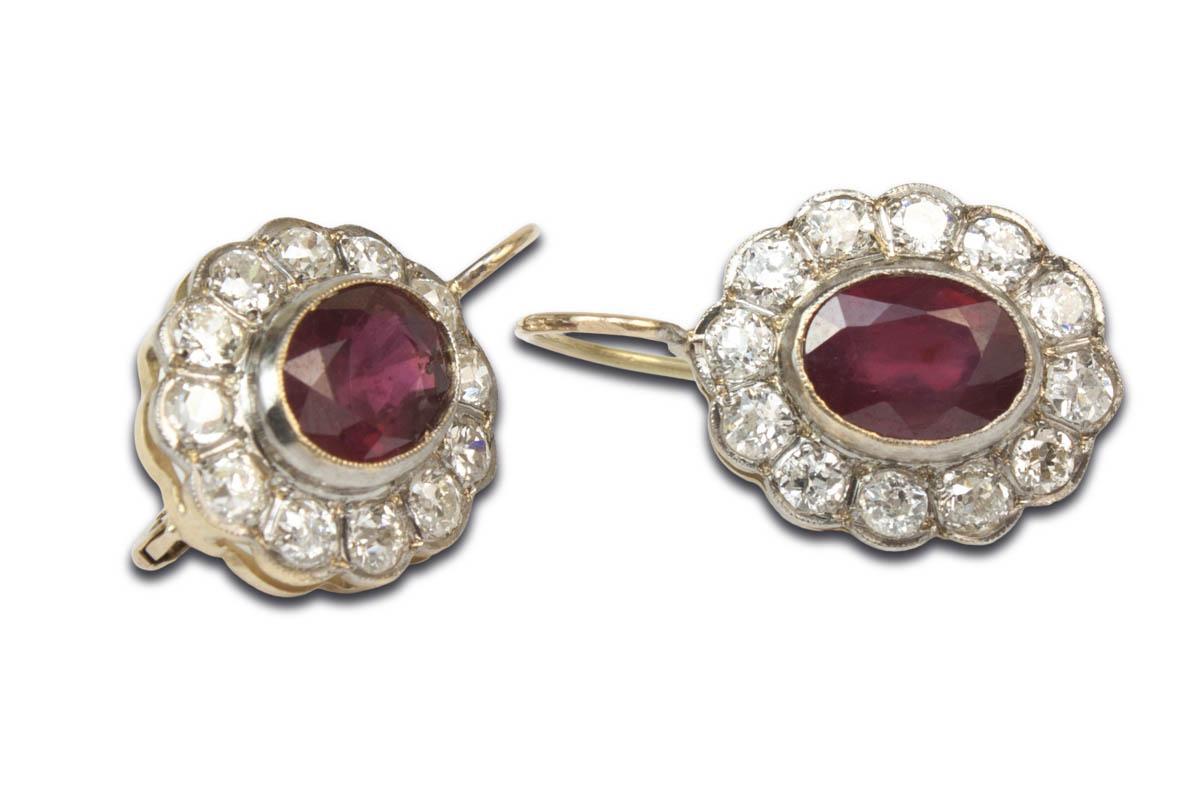 Kolczyki z diamentami i rubinami - 1