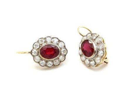 Kolczyki z diamentami i rubinami - 2