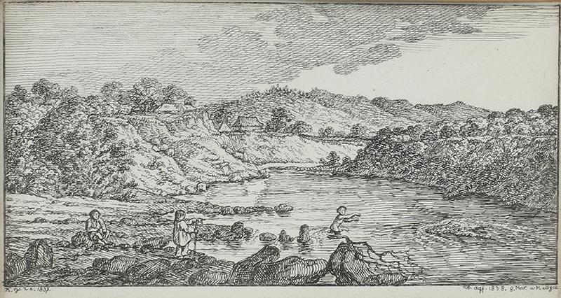 Para akwafort: Łowienie ryb, Kąpiel w rzece, 1838 r. - 1