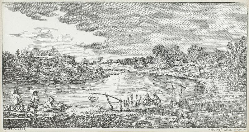 Para akwafort: Łowienie ryb, Kąpiel w rzece, 1838 r. - 2