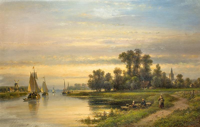 Letni pejzaż z żaglówkami na rzece - 1