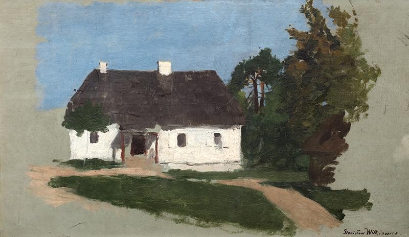 Studium pejzażowe z chatą i drzewami, l. 70.–80.XIX w. - 1