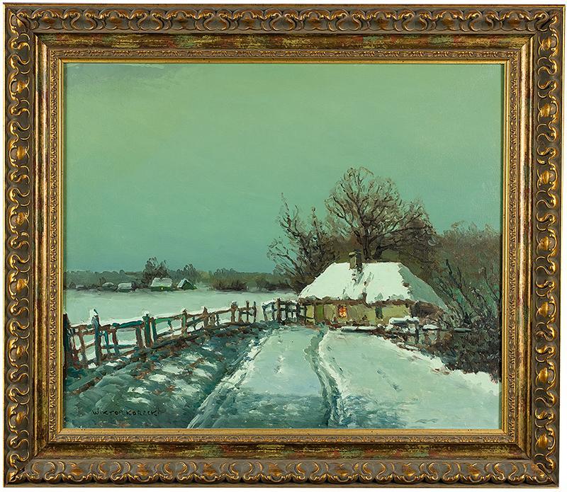 Pejzaż zimowy z chatami - 1
