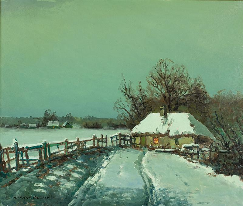Pejzaż zimowy z chatami - 2