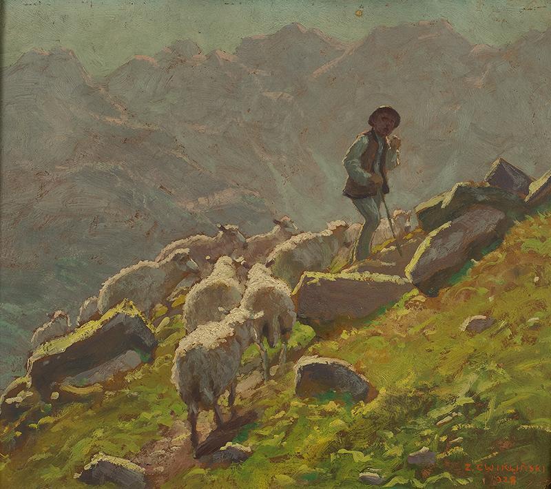 Góral i owce na hali, 1928 r. - 2
