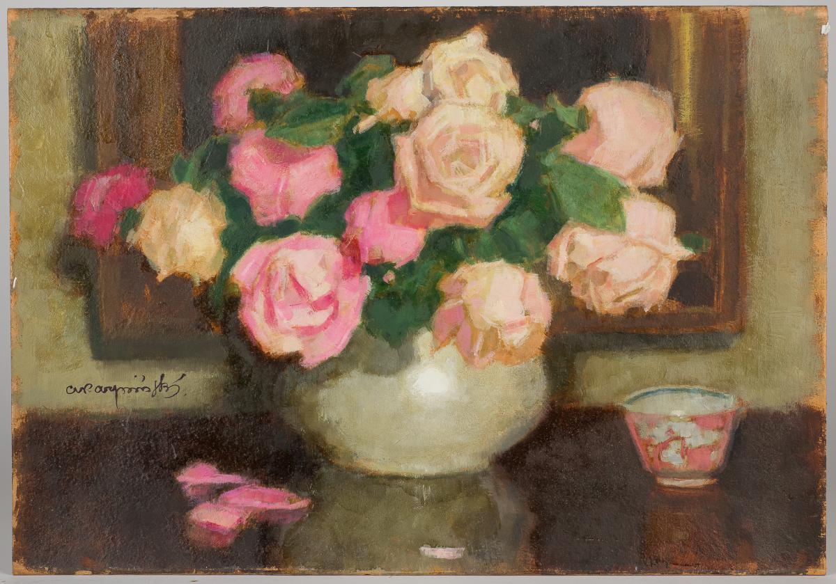 Różowe róże w wazonie - 1