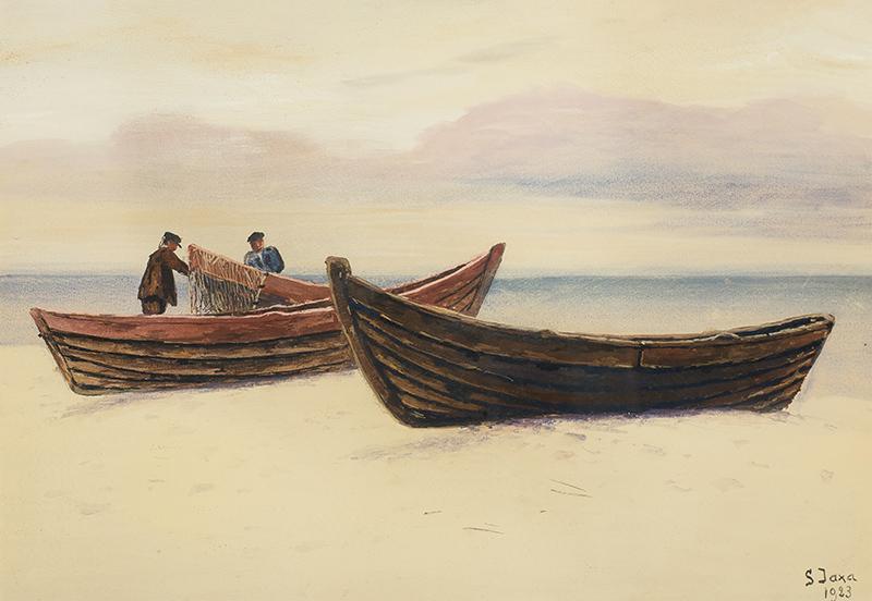 Rybacy przy łodziach, 1923 r. - 1