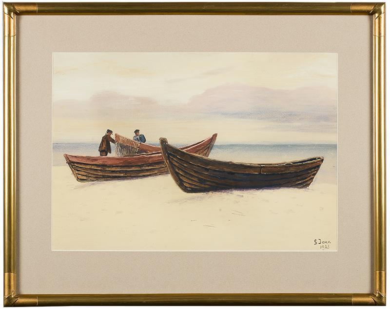 Rybacy przy łodziach, 1923 r. - 2