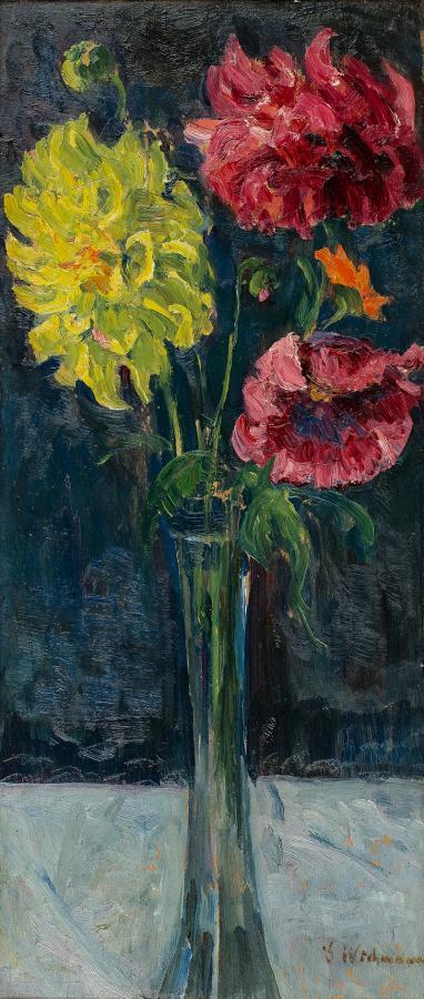 Kwiaty w szklanym wazonie - 1
