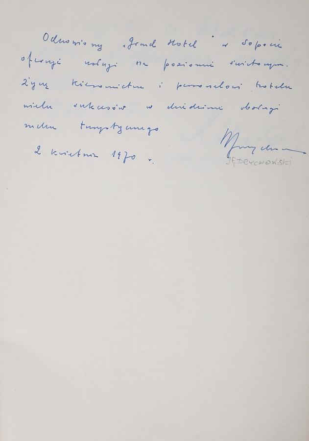 Księga pamiątkowa z wpisami gości Grand Hotelu w Sopocie z lat 1967–1977 - 8