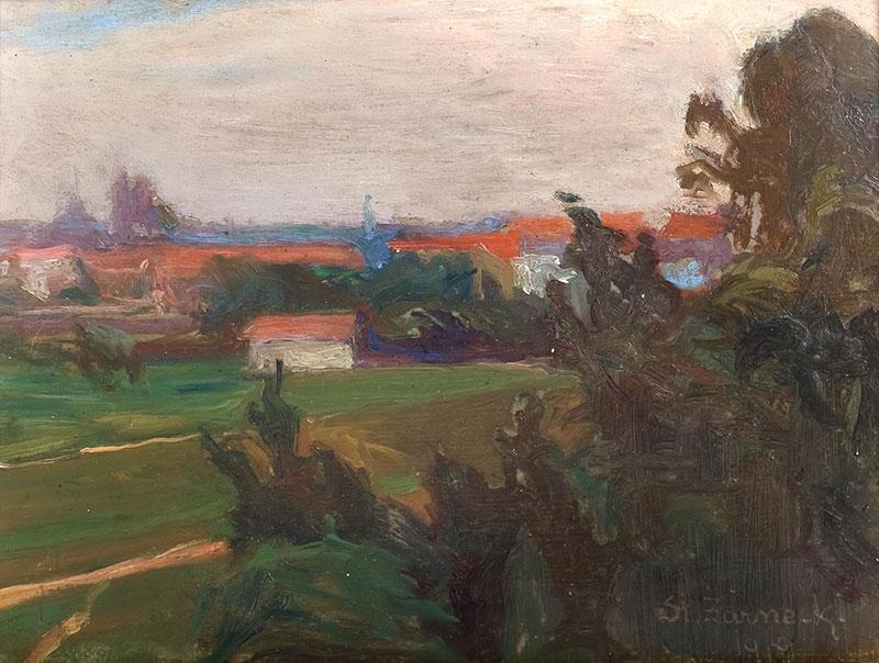 Pejzaż z zabudowaniami, 1919 r. - 1
