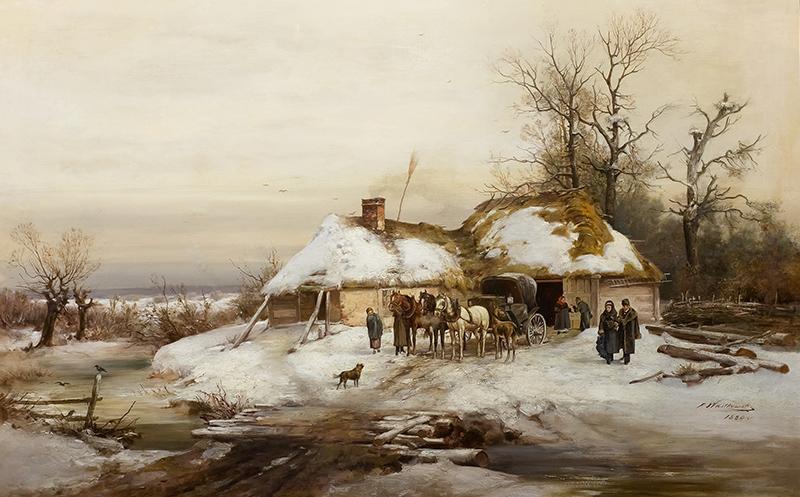 Konie przed chatą, 1880 r. - 1