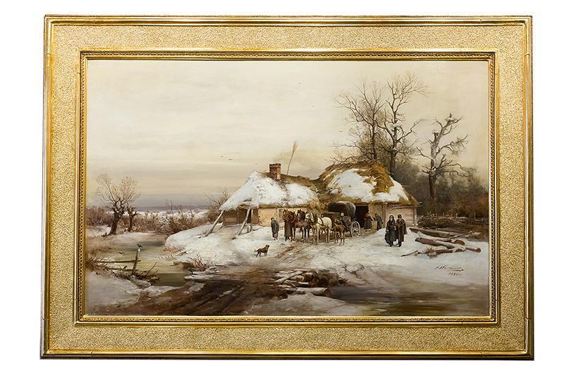 Konie przed chatą, 1880 r. - 2
