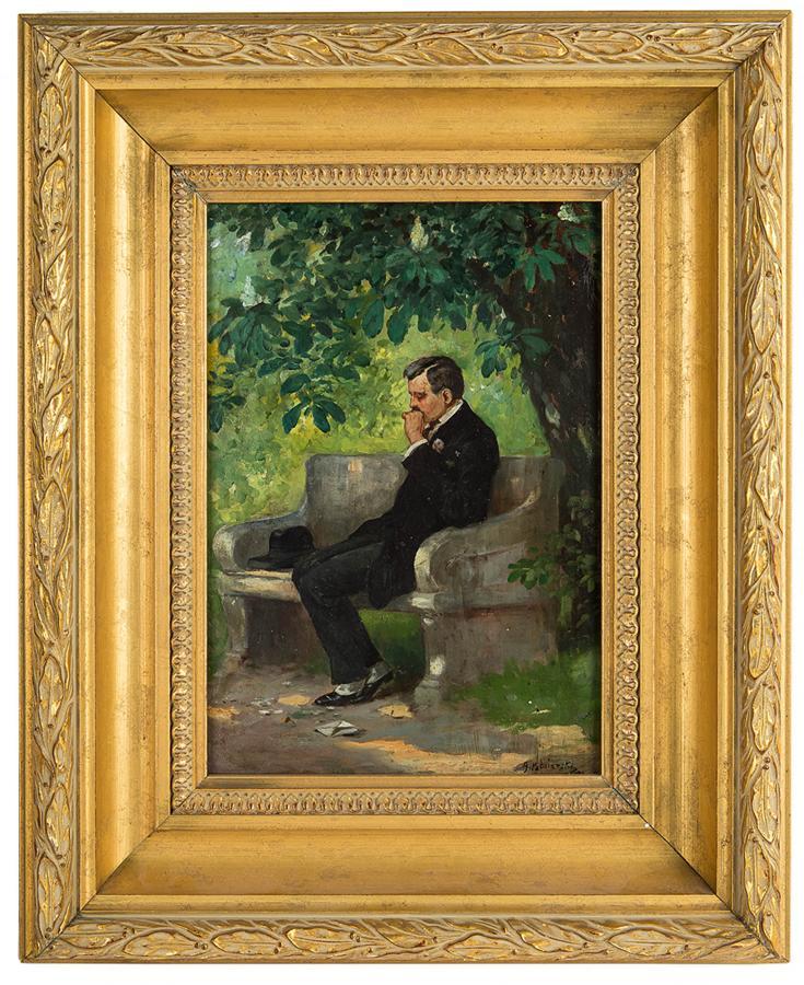 Mężczyzna na ławce, 1910 r. - 1