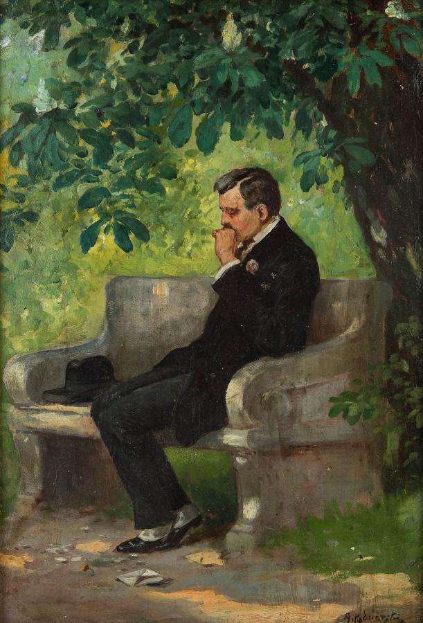 Mężczyzna na ławce, 1910 r. - 2
