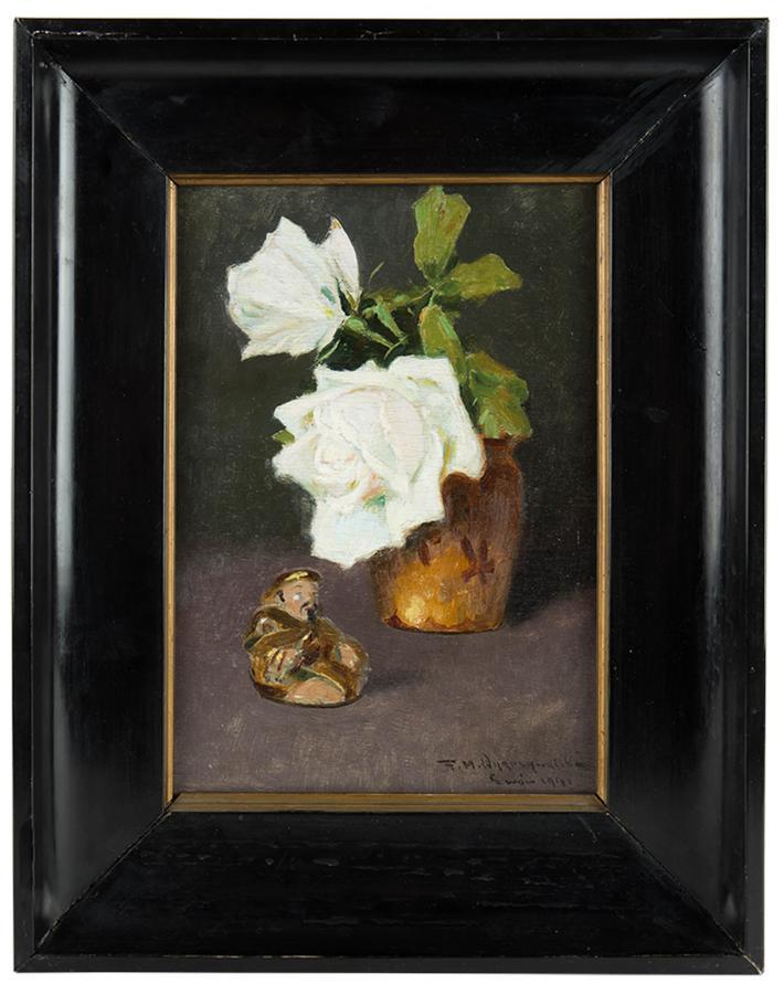 Kwiaty białej  róży i figurka buddy, 1941 r - 1