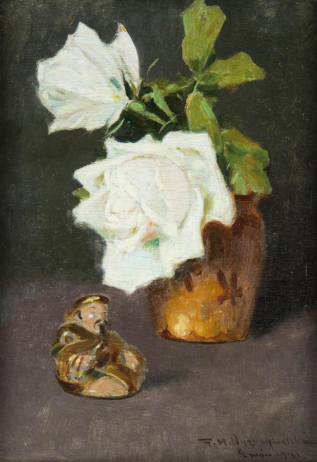 Kwiaty białej  róży i figurka buddy, 1941 r - 2