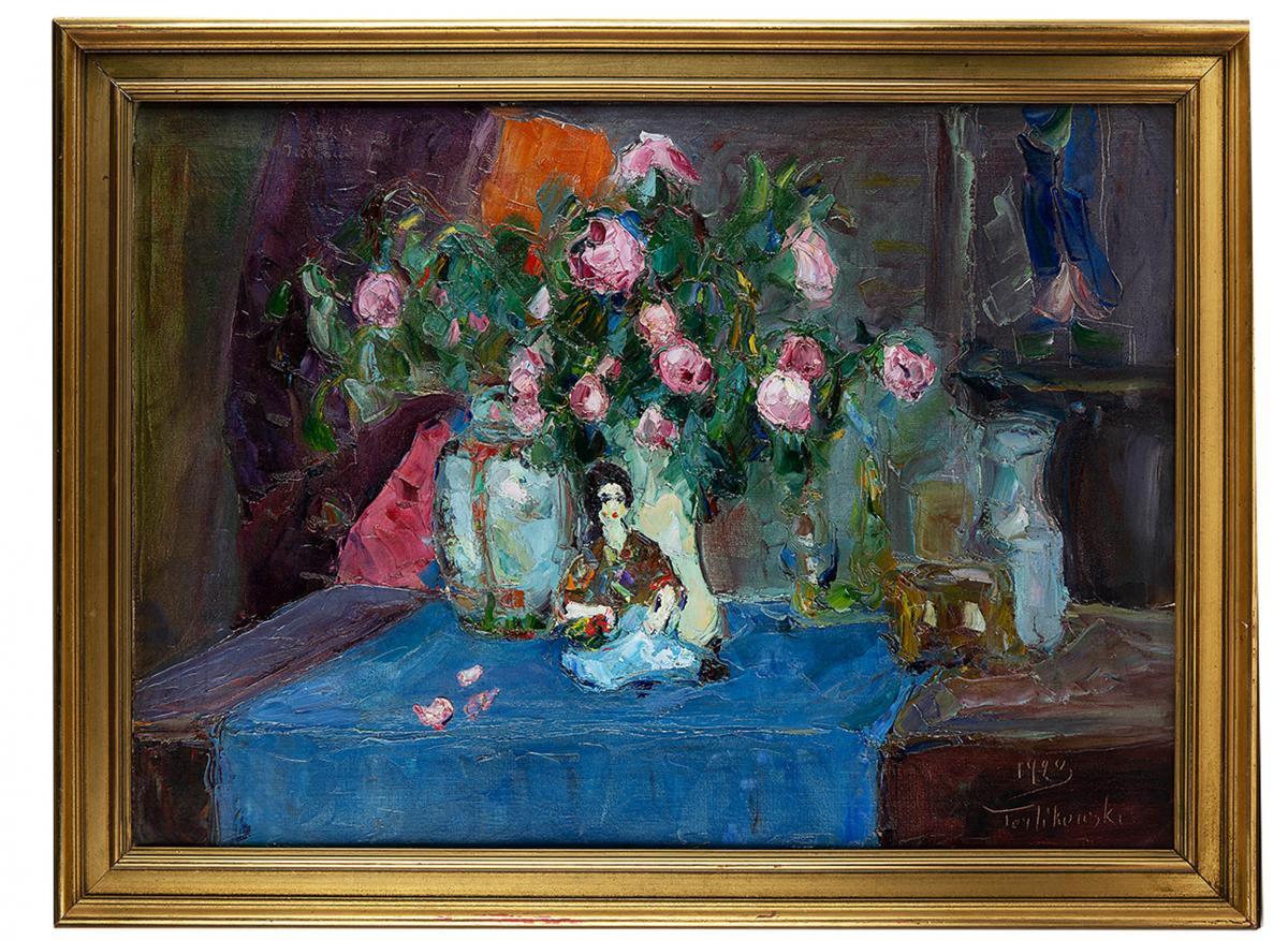 Martwa natura z różami i laleczką, 1923 r. - 1