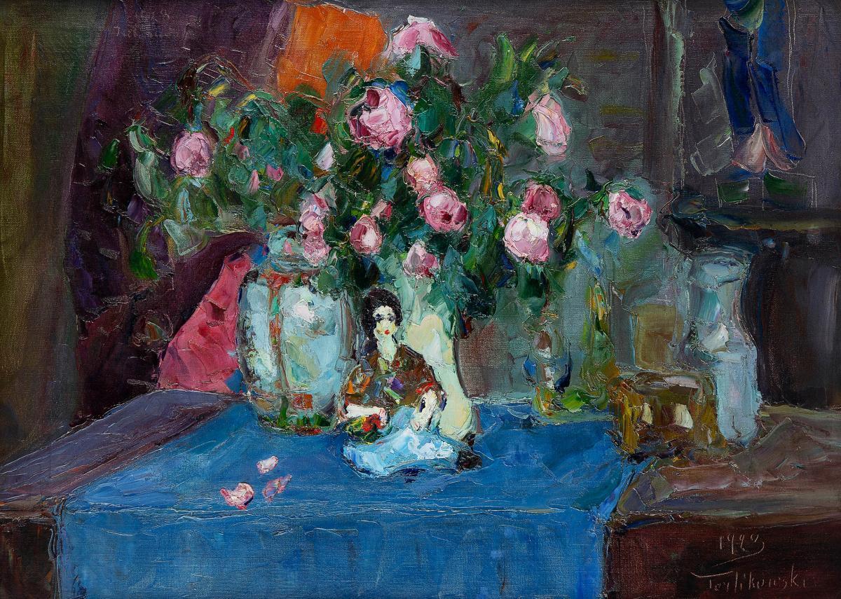 Martwa natura z różami i laleczką, 1923 r. - 2