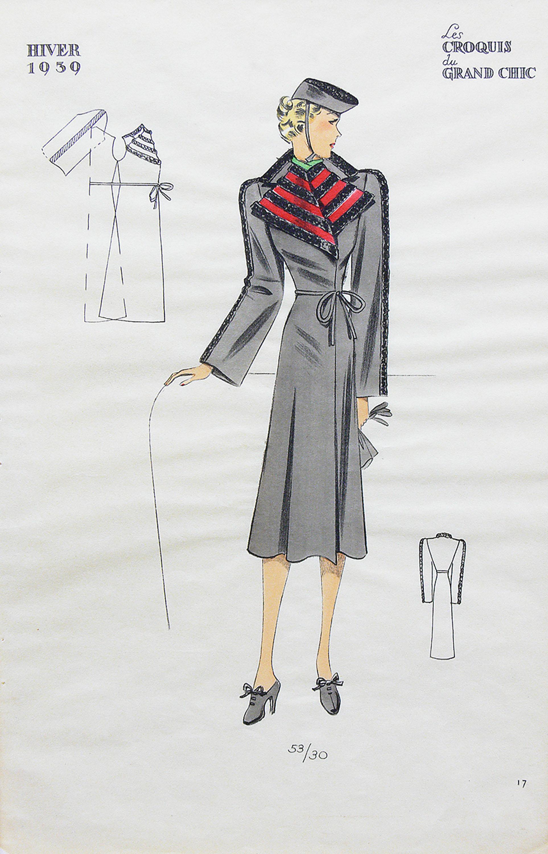Zestaw 6 projektów modowych sezonu zimowego 1939 r.