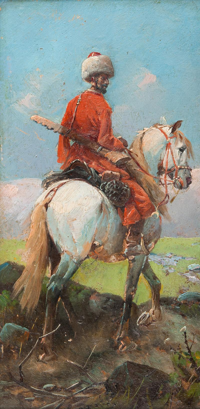 MN - w typie Franza Roubaud | Kozak na koniu