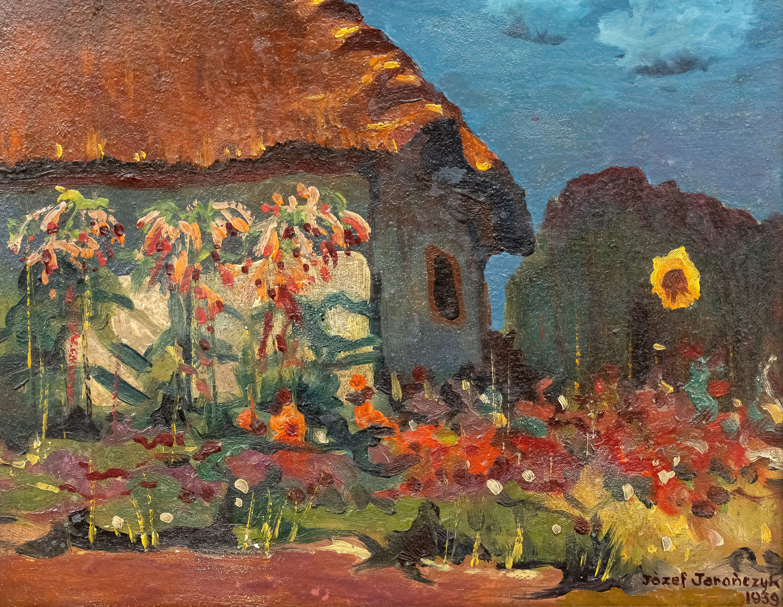 pejzaz-z-chata-i-slonecznikiem-1939-r-jozef-jaronczyk-2927375