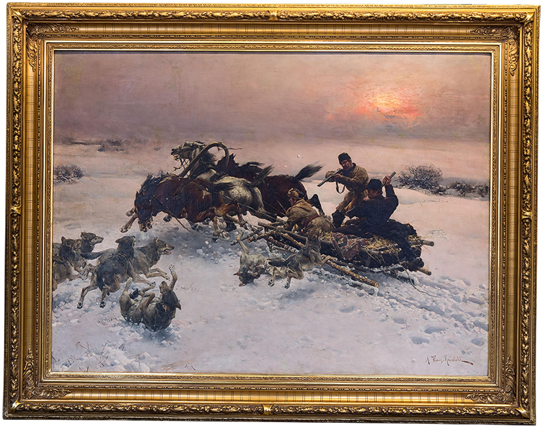 Alfred Wierusz-Kowalski | Napad wilków, 1885-1890