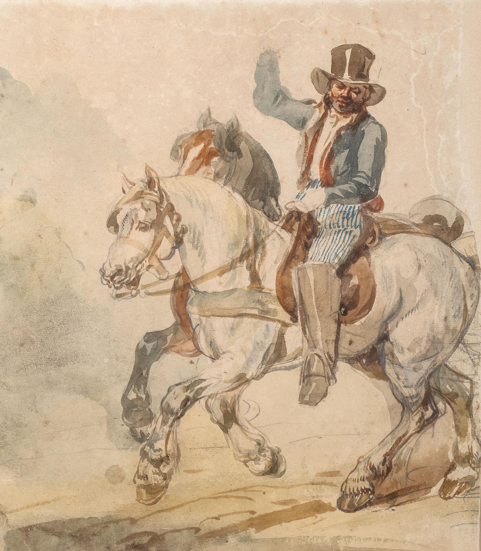 Piotr Michałowski | Para koni w zaprzęgu z pocztylionem, lata 1832–1835