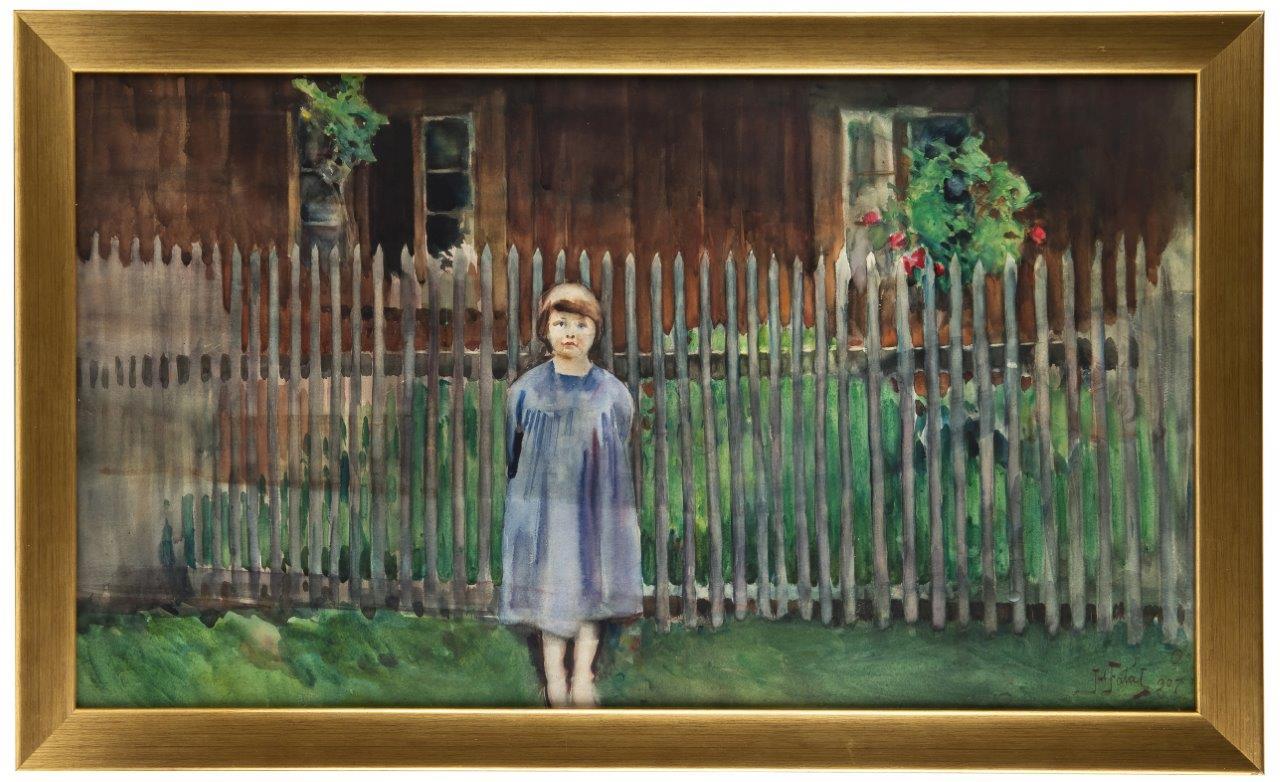 Julian Fałat | Widok z Bystrej. Córka artysty Kuka, 1907 r.