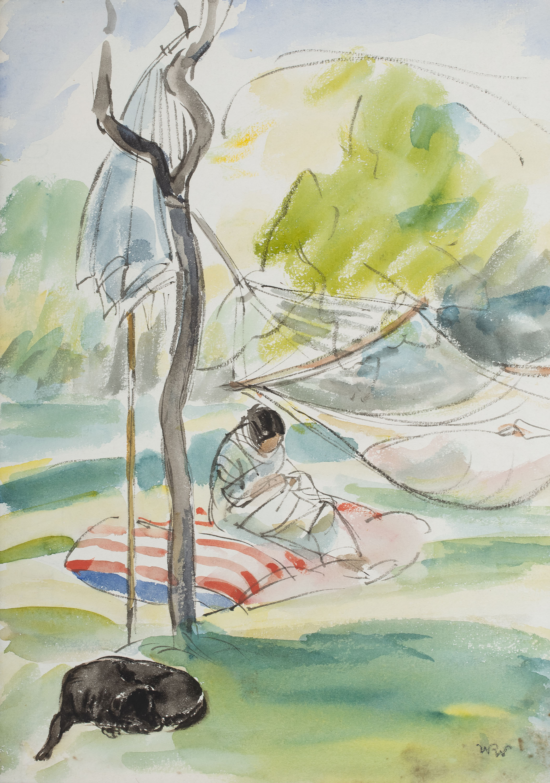 Wojciech Weiss | Żona z córką w hamaku, 1921 r.