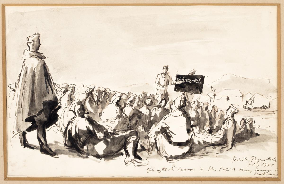 Parada/ Lekcja angielskiego w obozie polskiej armii w Szkocji, 1940 r. - 3