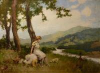 Odpoczywajaca kobieta z psem