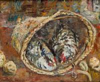 Kury w koszyku, 1940 r.