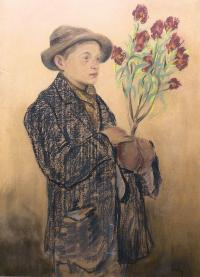 Chłopiec z kwitnącym oleandrem