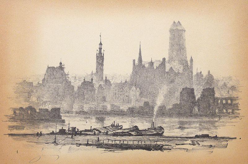 Panorama Gdańska znad Motławy, 1957 r.