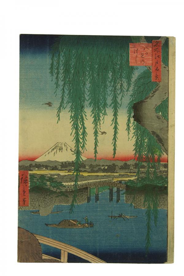 Most Yatsumi, z serii 100 widoków Edo, Japonia, 1857-58
