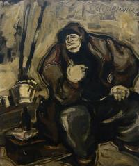 Siedzący robotnik