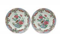 Para talerzy famille rose, Chiny, okres Qianlong (1735-1796)