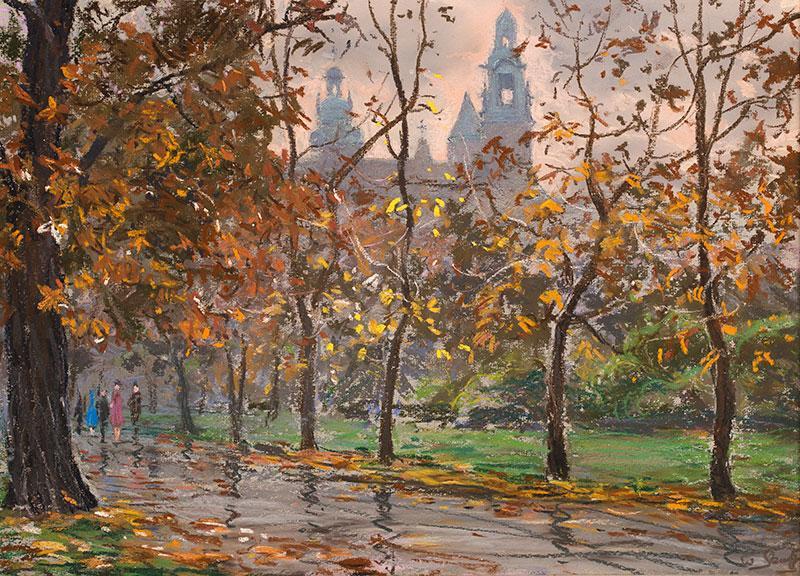 Planty jesienią ? Widok na Wawel