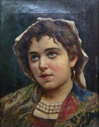 Portret młodej kobiety z perłami