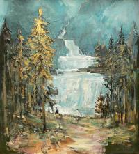 Pejzaż z wodospadami