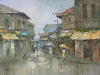 Deszcz - uliczka w Manili, 1985 r.