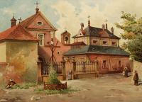 Widok na kościół Kapucynów w Krakowie, 1886 r.