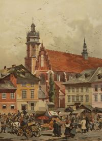 Widok na kościół Bożego Ciała w Krakowie, 1886 r.
