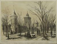 Brama Floriańska od strony Plantacyj w Krakowie, 1860 r.