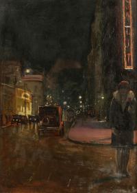 Warszawska ulica nocą, 1929 r.