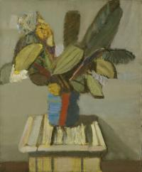 Liście fikusa w pasiastym wazonie, ok. 1957