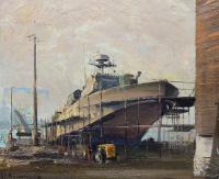 Kuter w stoczni