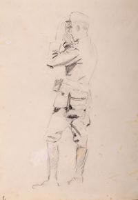 Oficer patrzący przez lornetkę (praca dwustronna)