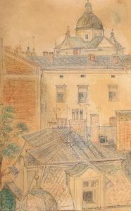 Widok na kościół Dominikanów w Krakowie